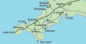 Lavnder Cottage Tehidy location map